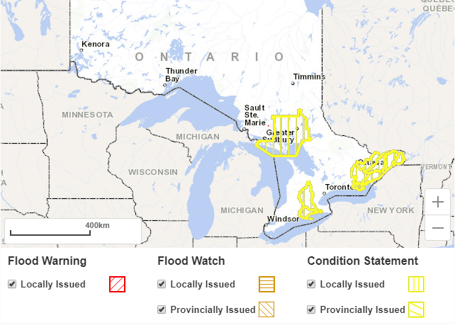 Ontario Flood Warning Map